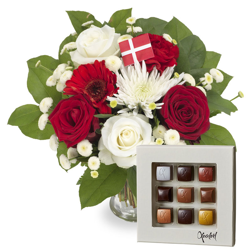 Aarstidens Danneborg Gavesæt - Blomster og chokolade