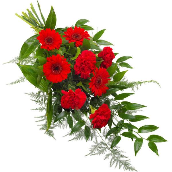Bårebuket i smuk rød