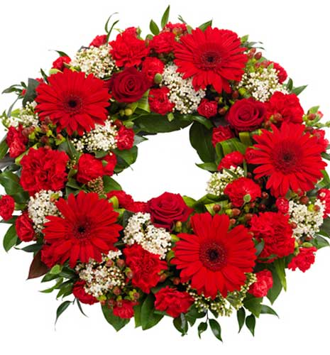 Rød-hvid begravelseskrans